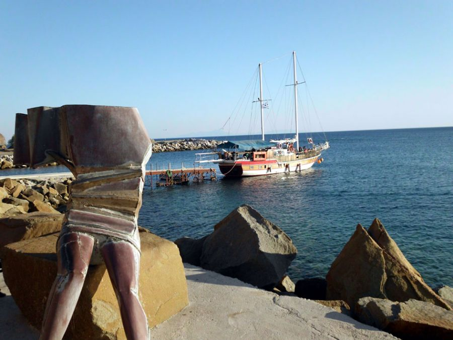 One of the sculpture of Sappho at the Eresos beach